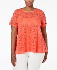 Charter Club Plus Size Lace Swing Top Only At Macy's Modern Coral