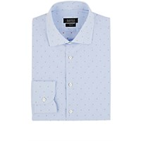 Barneys New York Men's Striped And Dot Embroidered Shirt Light Blue