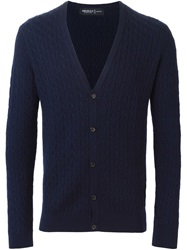 Pringle Of Scotland Cable Knit Cardigan Blue