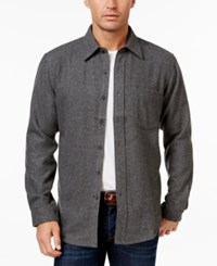 Club Room Men's Wool Long Sleeve Heather Over Shirt Only At Macy's Charcoal Heather
