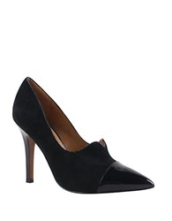 Kay Unger Nariah Black Suede And Patent Leather Pumps