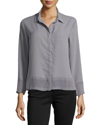 Neiman Marcus Semi Sheer Chiffon Blouse Cold Steel