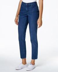 Charter Club Petite Bristol Printed Skinny Ankle Jeans Only At Macy's Medium Blue Combo
