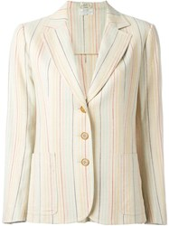 Celine Vintage Striped Blazer Nude And Neutrals