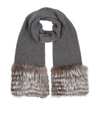 Harrods Of London Fur Trimmed Scarf Female Grey