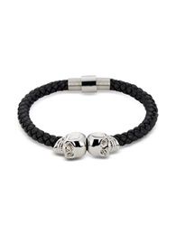 Northskull Black Nappa Leather And Rhodium Twin Skull Men's Bracelet
