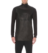 Rick Owens Turtleneck Leather And Cotton Jersey Top Black