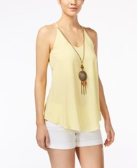 Amy Byer Bcx Juniors' Sleeveless Necklace Blouse Yellow