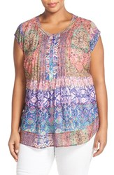 Plus Size Women's Daniel Rainn Mix Print Sheer Back Blouse