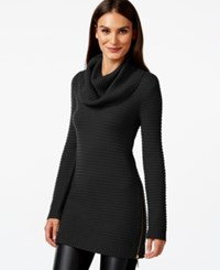 Inc International Concepts Petite Side Zip Cowl Neck Tunic Only At Macy's Deep Black
