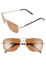 Men's Polaroid Eyewear 58Mm Polarized Navigator Sunglasses Light Gold