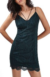 Topshop Women's Strappy Lace Plunge Minidress Teal