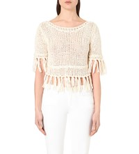 Free People Fringe Cotton Blend Knitted Top Ivory