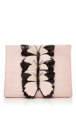Nancy Gonzalez Pink Butterfly Appliqued Crocodile Clutch