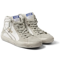 Golden Goose Distressed Leather And Suede High Top Sneakers
