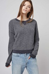 Topshop Washed Brushed Sweatshirt Navy Blue
