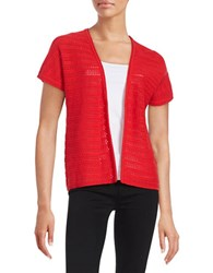 Context Open Front Knit Cardigan Scarlet Sunset
