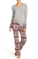 Lucky Brand Women's Henley Pajamas Paisley Stripes