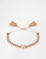 Love Rocks Sparkle Heart And Beads Stretch Friendship Bracelet Rosegold