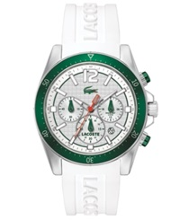 Lacoste Men's Chronograph Seattle White Silicone Strap Watch 44Mm 2010709