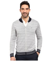 Lacoste Long Sleeve Double Face Chine Stripe Zip Cardigan Silver Chine Navy Blue White Men's Sweater