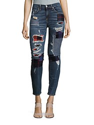 Rag And Bone Skinny Fit Ankle Length Patchwork Jeans Blue Denim