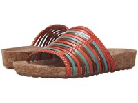 Walking Cradles Piece Bright Multi Cork Wrap Women's Sandals Red
