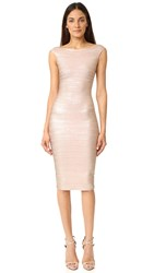 Herve Leger Ardell Foil Dress Rose Gold