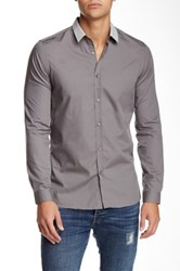 The Kooples Woven Long Sleeve Fitted Shirt Gray