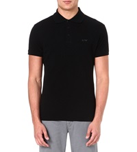 Armani Jeans Logo Cotton Pique Polo Shirt Black