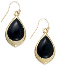Signature Gold Onyx Teardrop Earrings In 14K Gold 9 3 8 Ct. T.W. Yellow Gold