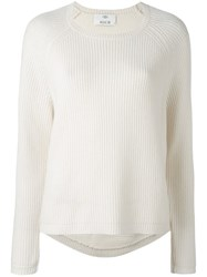 Allude Ribbed Crew Neck Jumper White