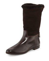 Gravati Shearling Lined Leather And Suede Mid Calf Boot Tmoro