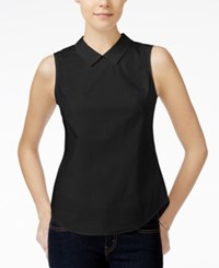 Armani Exchange Collared Blouse Solid Black