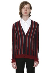 Saint Laurent Striped Wool Crepe And Lurex Cardigan