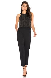 Ella Moss Frances Beaded Mesh Jumpsuit Black