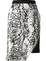 Emanuel Ungaro Zebra Print Skirt Nude And Neutrals