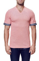 Men's Maceoo Short Sleeve V Neck T Shirt With Woven Cuffs