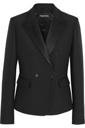 Tom Ford Satin Trimmed Wool And Silk Blend Tuxedo Jacket Black