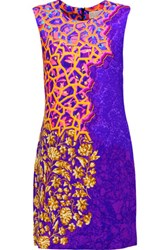 Peter Pilotto Stamp Printed Stretch Crepe Mini Dress Purple