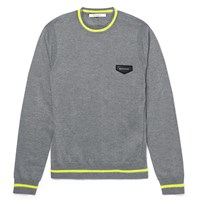 Givenchy Neon Stripe Wool Sweater Charcoal