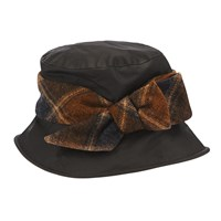 Olney Nancy Tweed Bow Rain Hat Black Brown
