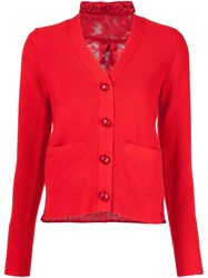 Sacai Lace Insert Cardigan Red