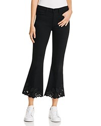 Frame Crop Flare Cutout Jeans In Noir