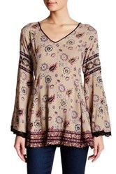Angie V Neck Bell Sleeve Blouse Brown