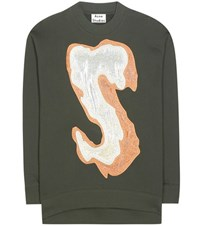 Acne Studios Karvel Cotton Blend Sweatshirt With Applique Green