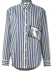 Msgm Sequin Striped Shirt Blue