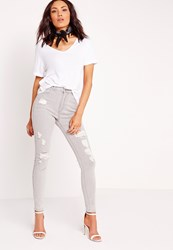 Missguided High Waisted Ripped Skinny Jeans Marbled Grey Grey