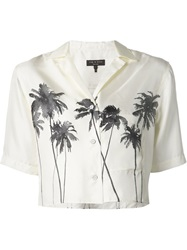 Rag And Bone Rag And Bone Palm Tree Print Cropped Shirt White