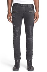 Men's Just Cavalli Faux Leather Detail Distressed Moto Jeans